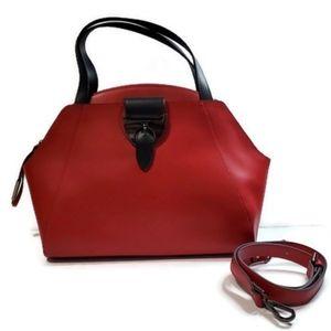 Nicoli Red/Black Italian Leather Sachel Hand Bag
